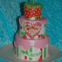 Strawberry Shortcake For Laurinha This cake was for a friend's daughter (Laurinha) who just turned 3!Pound cake covered with MMF and ganache underneath. All accents are...