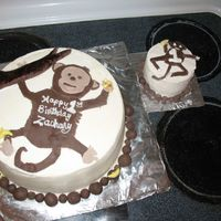 "Monkey Around   This is a 10"" round for a friend's son's 1st birthday. I copied the silly looking monkey on his invite. TFL"