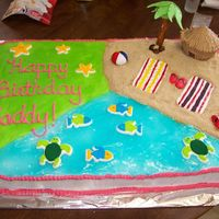 Madison's Luau Cake I did this for a friend's neice. Her birhday party was luau themed. It's a chocolate cake, with piping gel for water. The tiki...