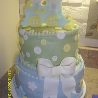 Baby Boy Shower Buttercream with fondant decorations. Inspired by TamathaV's darling train cake.
