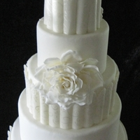 White Roses 12,10,8,6,4 fondant covered rounds with sugarpaste panels and roses. The roses on this cake were inspired by an incredibly gorgeous cake,...