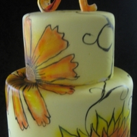 "Amanda Inspired by leilanima's flower cake. 7"" and 5"" fondant covered. painted with airbrush colors"