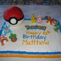 Pokemon And Pokeball Birthday Cake This was for my son's 6th birthday. The pokeball is butter cream icing and made with the wilton small ball cake pan. It sits upon a 1/...