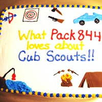 "Cub Scout Blue And Gold Cake This is the second of 2 half sheet cakes I made for my son's Cub Scout Blue and Gold dinner. The theme was ""What do we like about..."