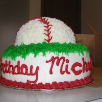 "Baseball Birthday Cake Hi all! This is my first cake that I have sold! Thank you to Cake-Happy for the idea! It is a 9"" round cake pan with a 1/2 ball cake..."