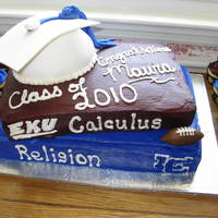 Graduation Book Cake Bottom book is a 1/2 single layer sheet cake and the top book is a 9x13 single layer. The cap is 1/2 of a ball cake pan. The books are...