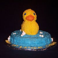 Ducky Cake It's just a duck on a blue cake!