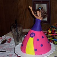Sweet 16 Doll Cake For my nieces 16th Birthday... she was holding a set of keys... First try at Fondant dress... pretty easy though need practice.