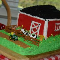 Barnyard Cake   All frosting (except of course the cow/tractor candles and the fence/pigs toys).