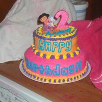 Dora The Explorer  Dora cake I made for my daughters 2nd birthday. 3 tier white cake tinted 6 colors with buttercream frosting. I know the picture with the...