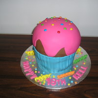 Giant Cupcake I made this cake a few weeks ago. I didn' use a mold...I cut it freehand.I didn't shape it at the bottom much because I thought...