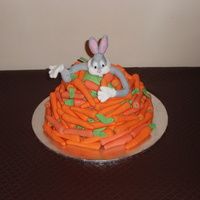 Bugs Bunny  I made this Debbie Brown cake for my birthday just for something different. I had a few problems with it.I made the carrots the day before...