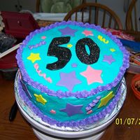50Th Birthday This is a yellow cake with buttercream and fondant stars. I got the idea from raindiddy'd over the hill cake, but i could not get my...