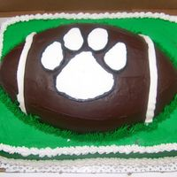 Football Birthday Cake This is a banana cake with buttercrean icing in green and chocolate buttercream icing on the football. The paw print is a FBCT in the logo...
