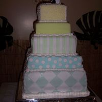 1St Wedding Cake This was my first 5 tiered wedding cake...it took me practically a day and a half to do by myself...thank god I did the baking a few days a...