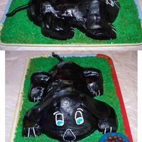 Puppy Cake I made this cake for my neighbors who had just gotten a black lab puppy. The puppy, grass & dog bowl are all iced with BC. The dog food...