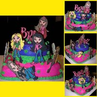 Bratz Cake For a little girls 5th birthday. Bottom layer is chocolate cake, top layer is yellow cake. Iced all in BC. All Bratz and Bratz logo are...