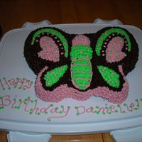 Butterflies Galore! This cake is the Wilton Butterfly pan. I used bright colors and did a retroTheme! Everyone loved it. I did not have any cake boards so i...