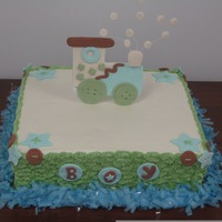 Baby Shower Train Cake All buttercream with a little coconut flavor gumpaste train...The train from awiscar's cake design, beautifull piece of art...