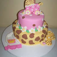 Animal Print Baby Shower Girl Cake   all fondant