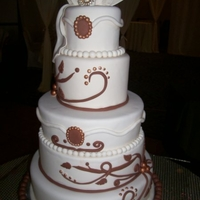 Ivory And Brown Wedding Cake   All fondant and gumpaste
