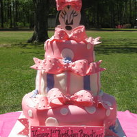 Brinkley's 1St Birthday Cake   This was made for my little precious grandaughter on her 1st birthday...she loves Minnie Mouse. found this idea on CC. Love this website.