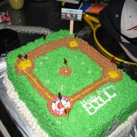 Baseball Field This was supposed to be a baseball field. I couldnt find any players at the bakery supply store, so I used frilly toothpics. White cake...