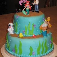 Ariel Little Mermaid Fondant Cake All fondant coverings except figurines- they are from the Disney store (perfect for cakes!!). Brown Sugar makes great sand!