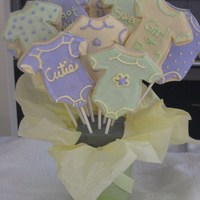 Girl Or Boy Baby Shower Onesie Cookie Bouquet Made for a unisex baby shower. NFSC with Antonia RI- FUN to make!!