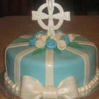 Boy Baptism All MMF, first time using the pearl dust- I was very happy with how it changed the look of the white and blue fondant. Also, my first...