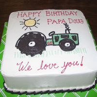 Papa's Tractor Bday Marble cake with buttercream icing. Customer brought this pic of tractor for the cake. Simple enough, sure... but had such a hard time...