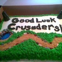 Cross Country Running Cake  Last minute cake for a friend. Her niece was having a cross country runner meet. BC with choc. candy rocks. It was so much fun to do! And...