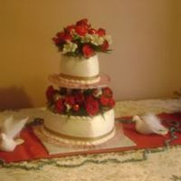 Winter Wedding Two Teir heart shaped cake with fres flowers