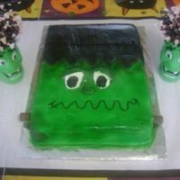Frankenstine Quick and easy using any size sheet cake pan!