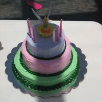 3 Tiered Tinkerbell Bithday Cake This was three layers of yellow cake with chocolate filling, iced in BC. This was my first attempy at a tiered cake and it managed to...