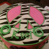 Peace Sign Cake Made for a 14 year old who wanted a pink and zebra stripe cake