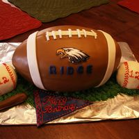 Football Cake Choc cake, covered in MMF.