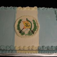 Guatamalan Flag White cake, strawberry filling, SMBC. The flag emblem is a CT.