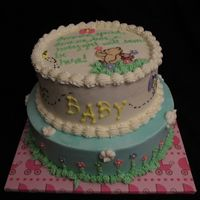 Baby Girl Classic Pooh Marble cake torted with strawberries, covered with BC and fondant flowers and butterflies. Pooh and Piglet are CTs. I wish I could take...