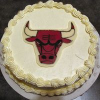Chicago Bulls White cake, CT transfer, SMBC icing.