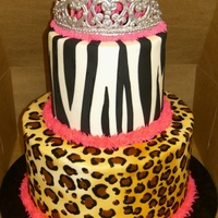 "A Grown Up Princess a 6"" and 10"" cake with 5.5"" tiers. Iced in buttercream, black fondant zebra stripes. RI tiara. the single tier shows how i..."