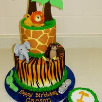 "In The Jungle   5"" on 8"" cakes, 4"" smash cake. BC iced cakes with fondant accents. Fondant + tylose animals."