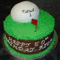 50Th Birthday Cake A coworker requested a golf cake for his dad's 50th birthday. This cake was inspired by kelleym.