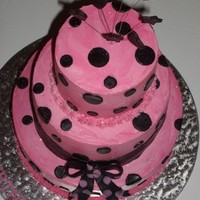 Mini 3 Tier Pink And Black Polka Dot Cake