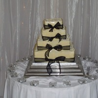 4 Tier Chocolate Mousse Wedding Cake With White Chocolate Ganache And White Chocolate Tiles