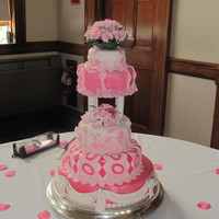 "Funky Pink And White Wedding Cake Tiered cake modeled after Wilton's cake ""WILDEST DREAMS"". This cake was mixed bottom tiered was chocolate with chocolate..."