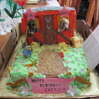 Horse And Pony marble cake with buttercream frosting and hand made fondant accents,water pail, apple, carrots, bag of oats,shovel.Horse and pony resembled...
