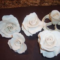 Cake Roses some roses from gum paste made fro wedding cake they are antique white, I will add some pearl dust to them and leaves
