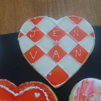 Valentine Cookies lemon sugar cookies with poured fondant icing