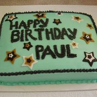 Paulbdaycake.jpg Birthday cake done for a co-worker August 2006. This was the second cake I've made to actually give to someone. The cake is chocolate...